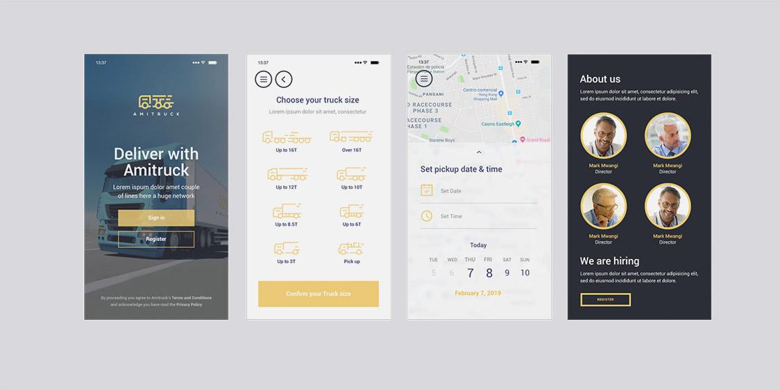 Amitruck Mobile App Screen Designs