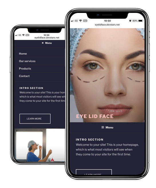 Eye Lid Face Mobile Website Design