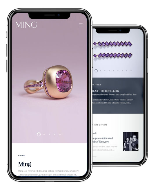 Ming Jewellery Mobile Website Design