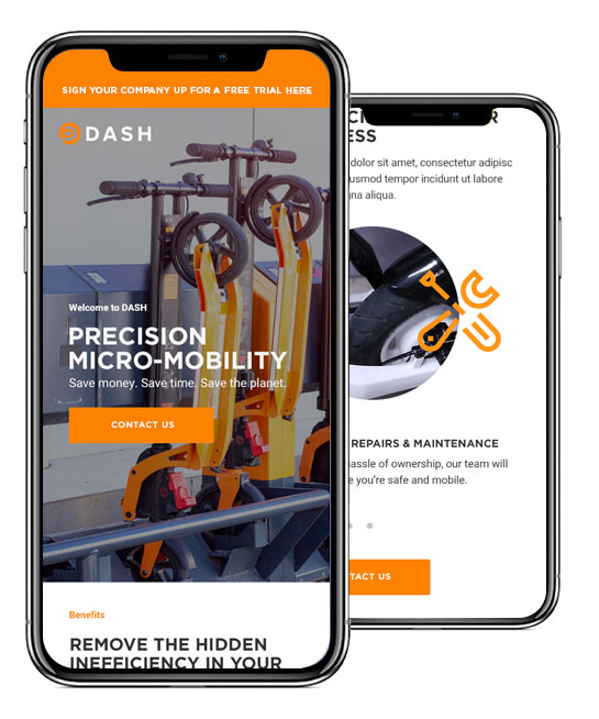 Dash Rides Mobile Website Design