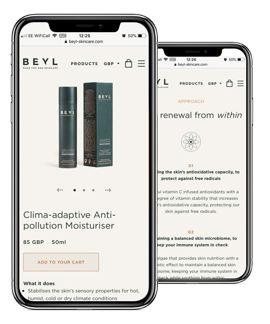 Beyl Skincare Mobile Shopify Store