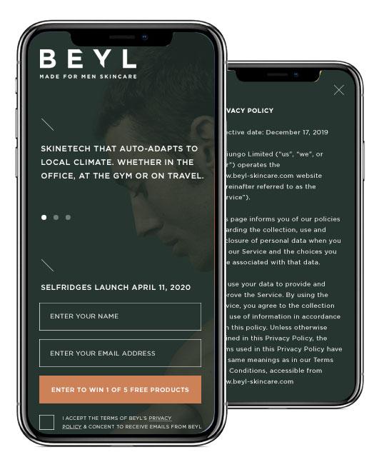 Beyl Skincare mobile website design