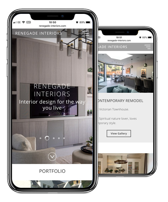 Renegade Interiors Mobile Website Design