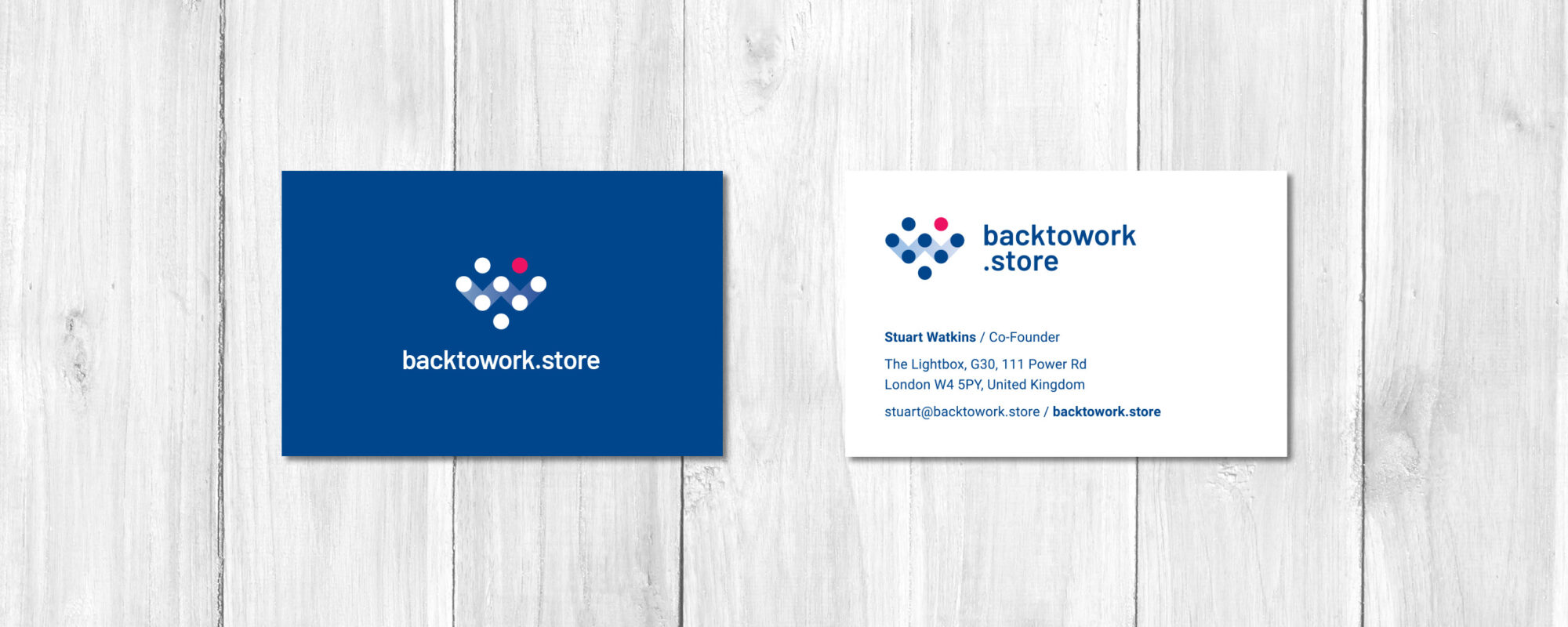 Back to Work Store Business Card Design
