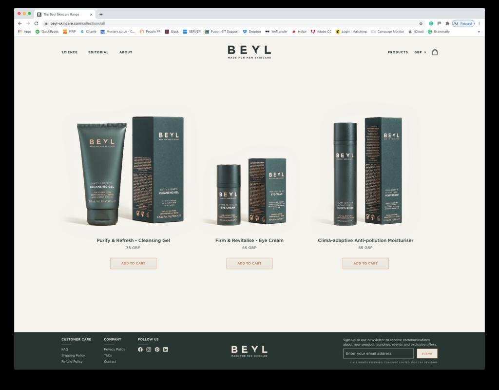 Beyl Skincare Bespoke Shopify Theme Design