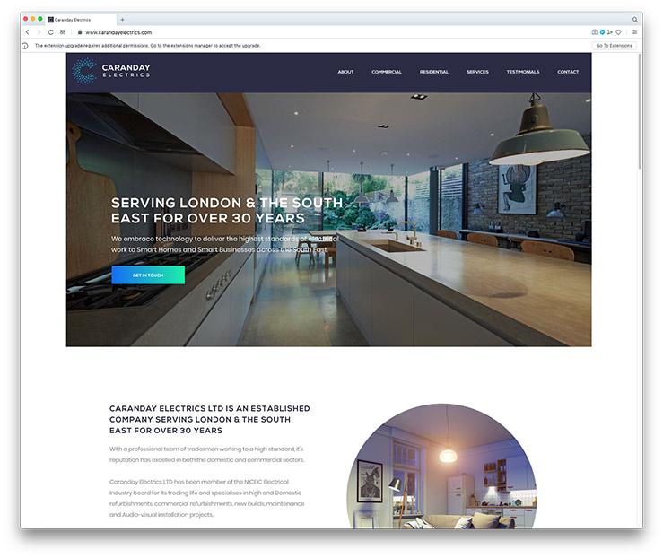 Caranday Electrics One-page Website Design & Development