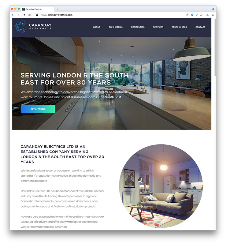 Caranday Electrics Website and Branding by London Web Design Agency