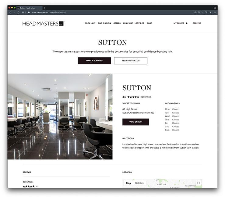 Headmasters Hair Salon website uses local SEO to grow their business
