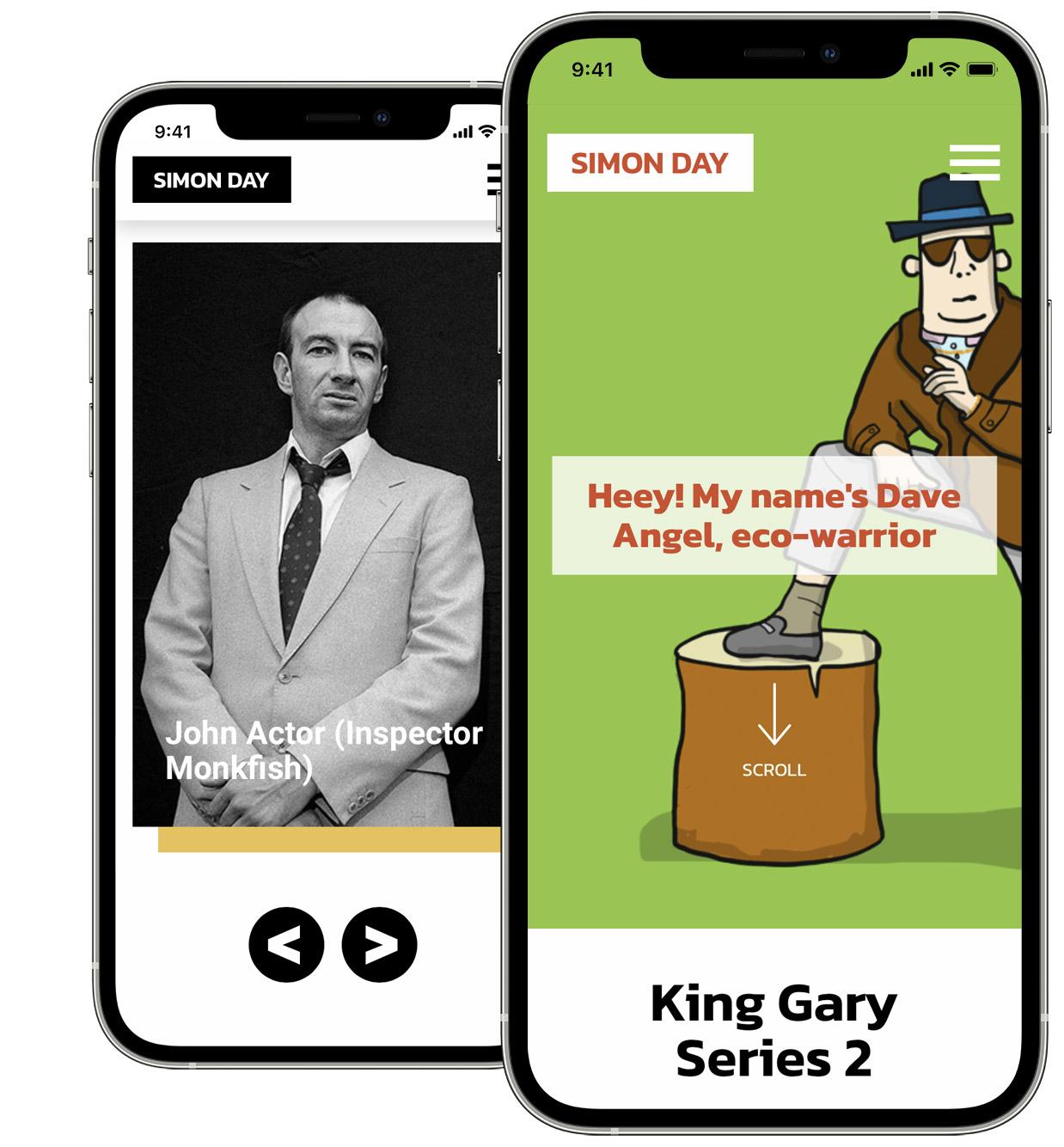 Simon Day Mobile Website Design for Comedian & Actor