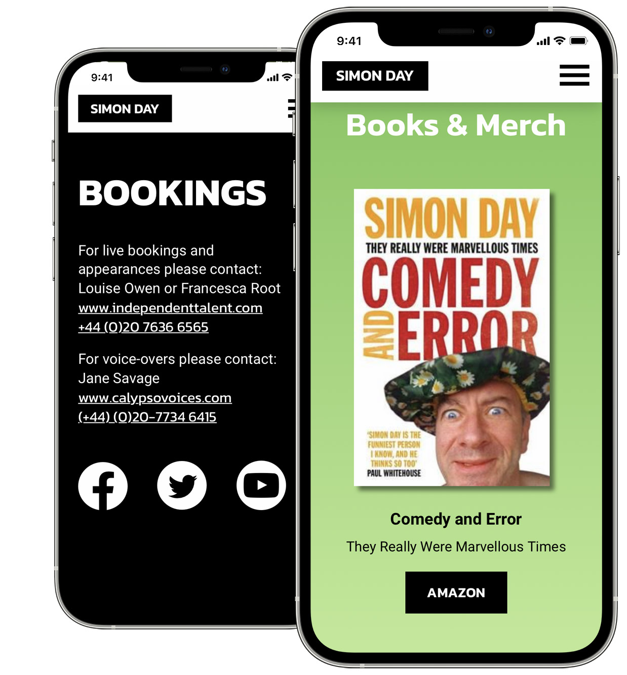 Simon Day Mobile Website Design for TV Personality