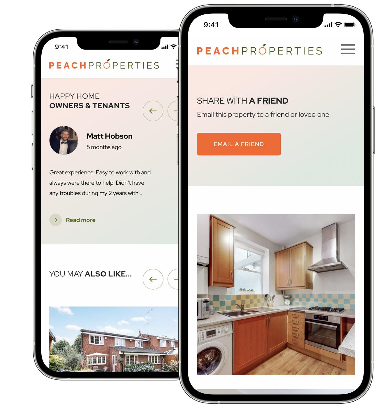 Peach Properties Mobile Estate Agent Website Design