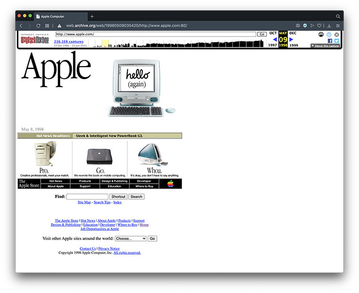The history of websites - Apple.com