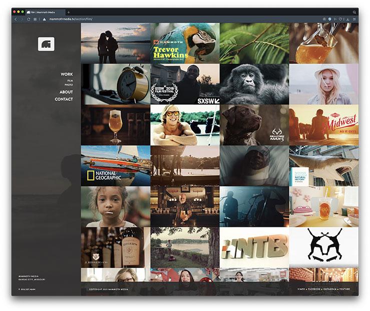 mammoth media website left-side vertical navigation